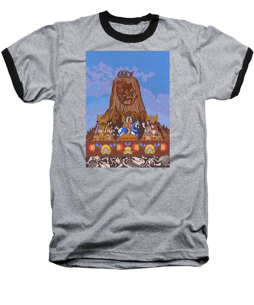 Baseball T-Shirt featuring the painting Legend Of Bear's Tipi by Chholing Taha