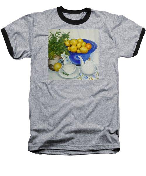 Lemon Tea Baseball T-Shirt by Helen Syron