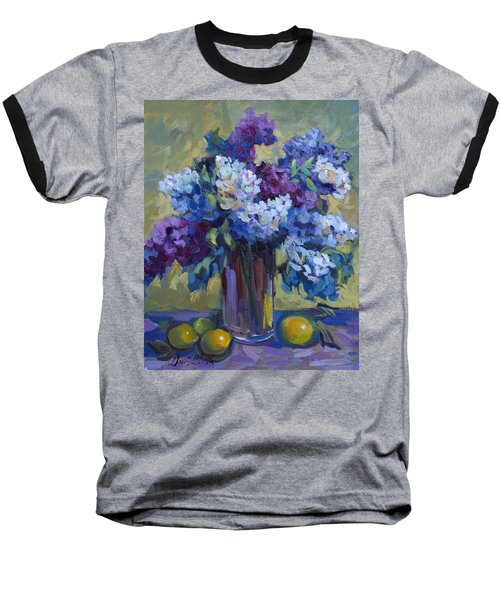 Lemons And Lilacs Baseball T-Shirt by Diane McClary