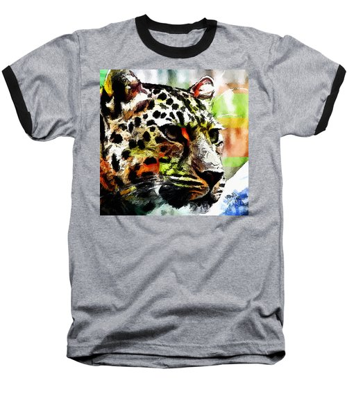 Baseball T-Shirt featuring the painting Leopard - Leopardo by Zedi