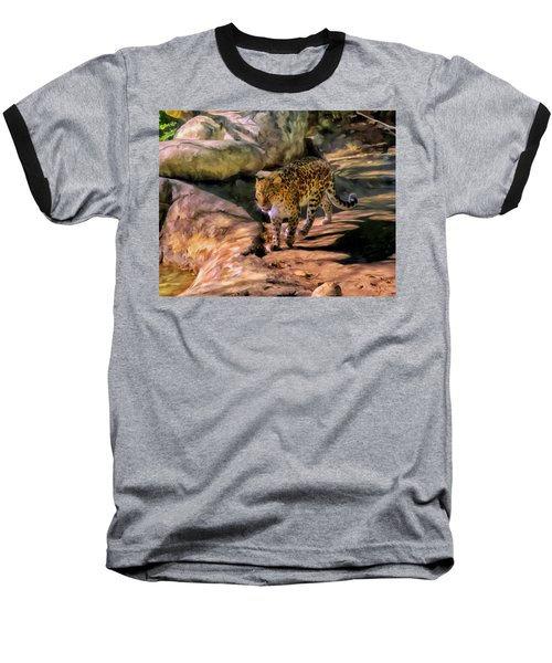 Baseball T-Shirt featuring the painting Leopard by Michael Pickett