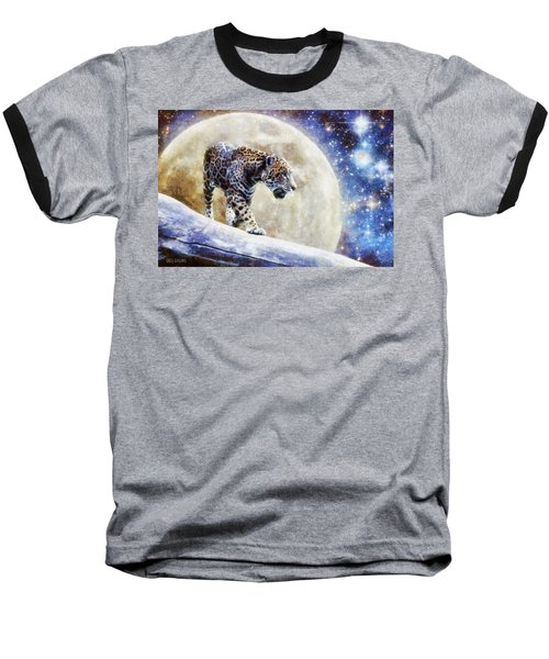 Baseball T-Shirt featuring the painting Leopard Moon by Greg Collins