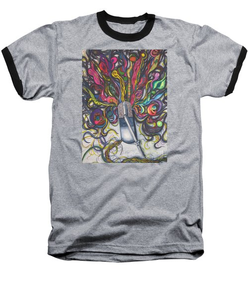 Baseball T-Shirt featuring the painting Let Your Music Flow In Harmony by Chrisann Ellis