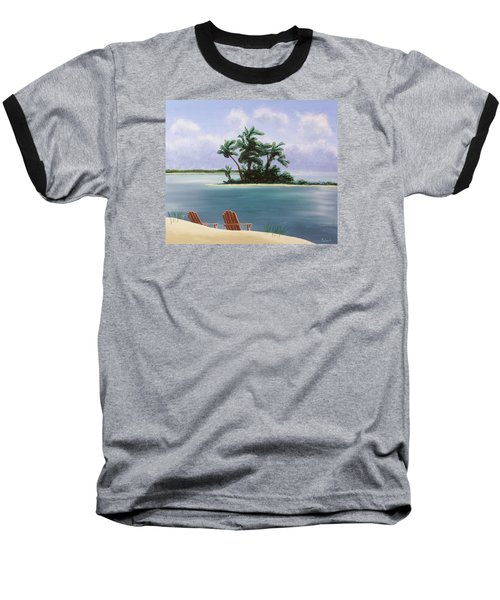 Let's Swim Out To The Island Baseball T-Shirt by Jack Malloch