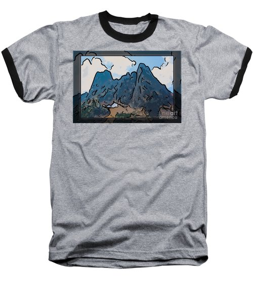 Liberty Bell Mountain Abstract Landscape Painting Baseball T-Shirt