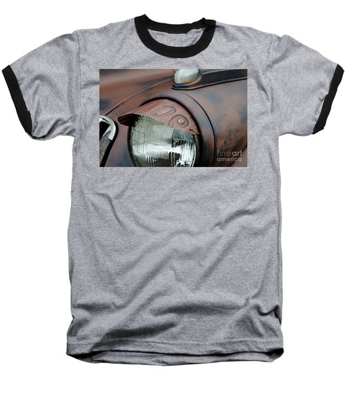 Baseball T-Shirt featuring the photograph License Tag Eyebrow Headlight Cover  by Wilma  Birdwell