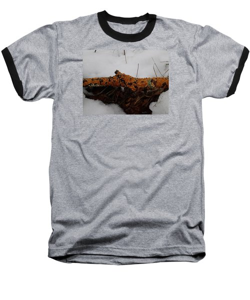 Baseball T-Shirt featuring the photograph Lichen N'snow by Robert Nickologianis