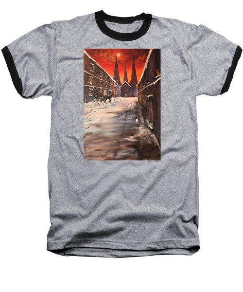 Baseball T-Shirt featuring the painting Lichfield Cathedral A View From The Close by Jean Walker