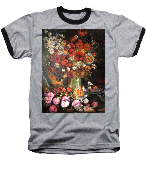 Baseball T-Shirt featuring the painting Life Is Like A Vase Of Flowers by Belinda Low
