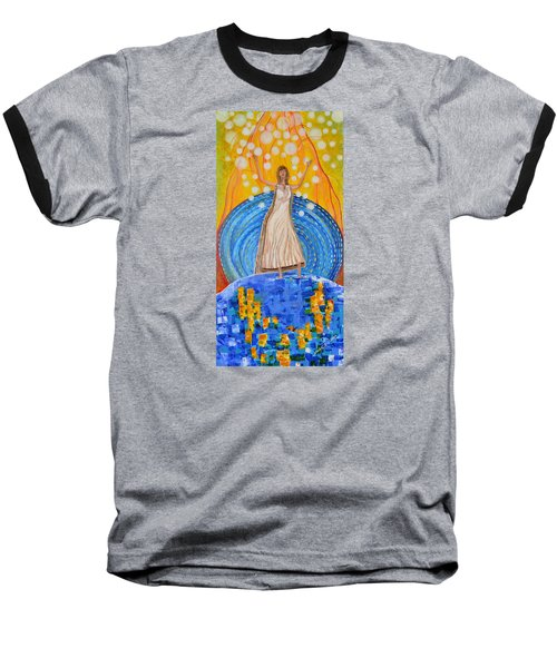 Baseball T-Shirt featuring the painting Lifting The Veil by Cassie Sears