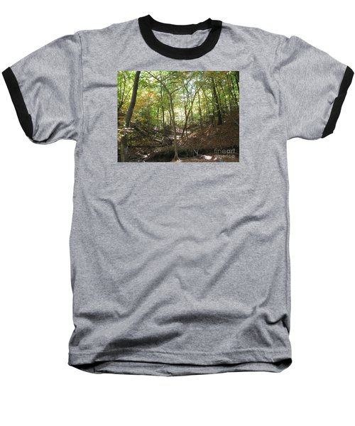 Light And Shadow Through The Forest Baseball T-Shirt