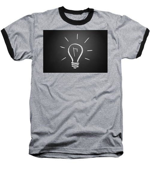 Light Bulb On A Chalkboard Baseball T-Shirt
