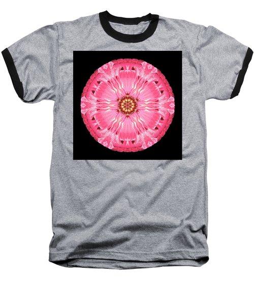 Baseball T-Shirt featuring the photograph Light Red Zinnia Elegans Flower Mandala by David J Bookbinder