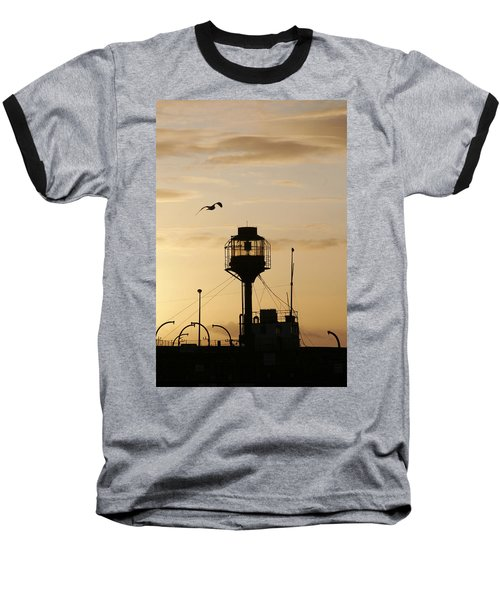 Light Ship Silhouette At Sunset Baseball T-Shirt