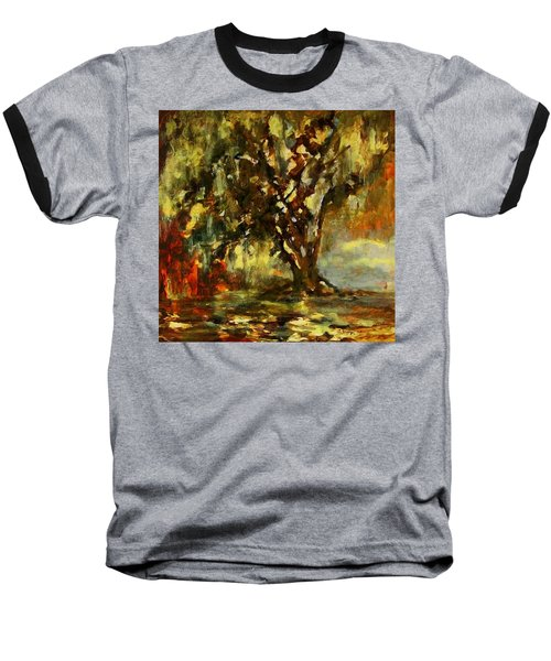 Light Through The Moss Tree Landscape Painting Baseball T-Shirt