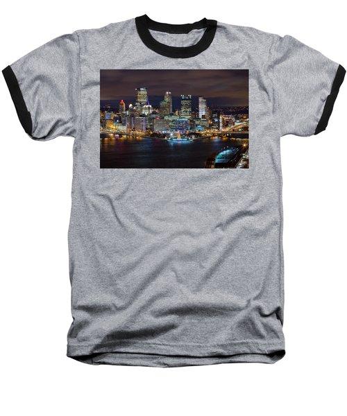 Light Up Night Pittsburgh 3 Baseball T-Shirt by Emmanuel Panagiotakis