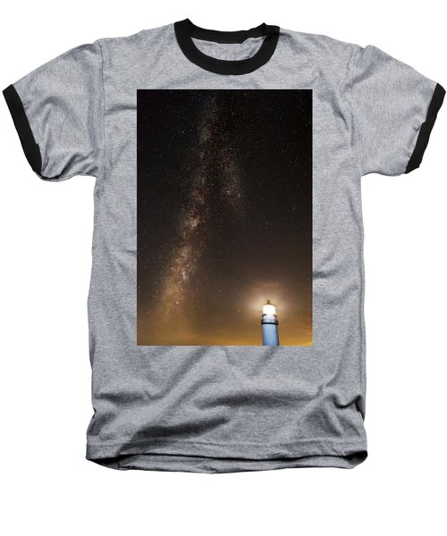 Lighthouse And Milky Way Baseball T-Shirt