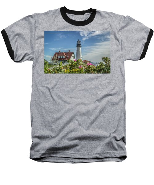 Baseball T-Shirt featuring the photograph Lighthouse And Wild Roses by Jane Luxton