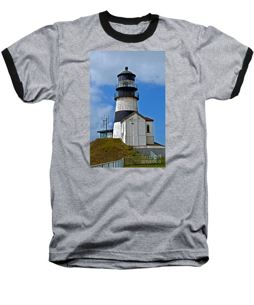Lighthouse At Cape Disappointment Washington Baseball T-Shirt by Valerie Garner