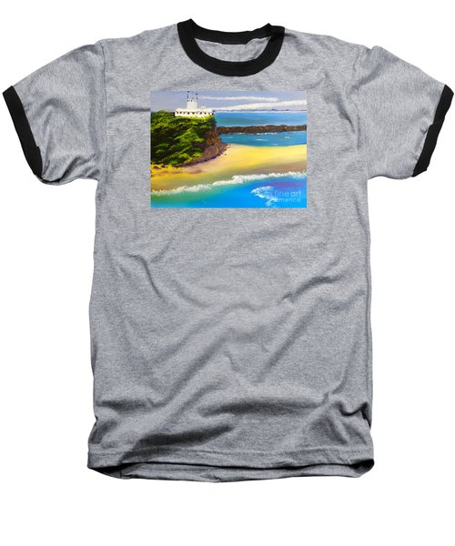 Baseball T-Shirt featuring the painting Lighthouse At Nobbys Beach Newcastle Australia by Pamela  Meredith