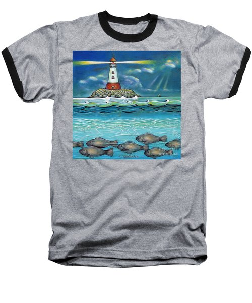 Baseball T-Shirt featuring the painting Lighthouse Fish 030414 by Selena Boron