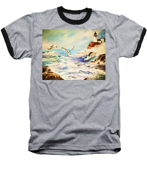 Baseball T-Shirt featuring the painting Lighthouse Gulls And Waves by Al Brown
