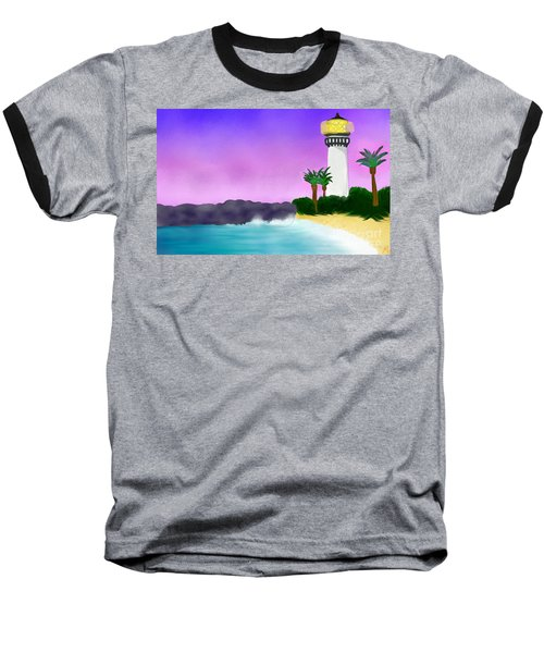 Lighthouse On Beach Baseball T-Shirt by Anita Lewis