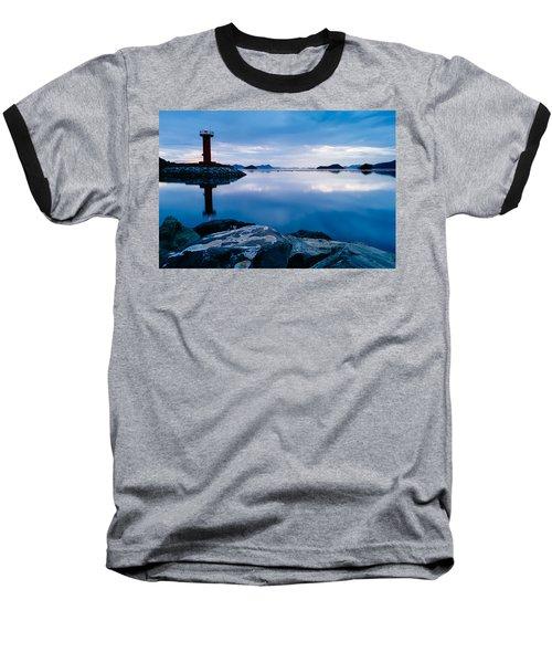 Lighthouse On Blue Baseball T-Shirt