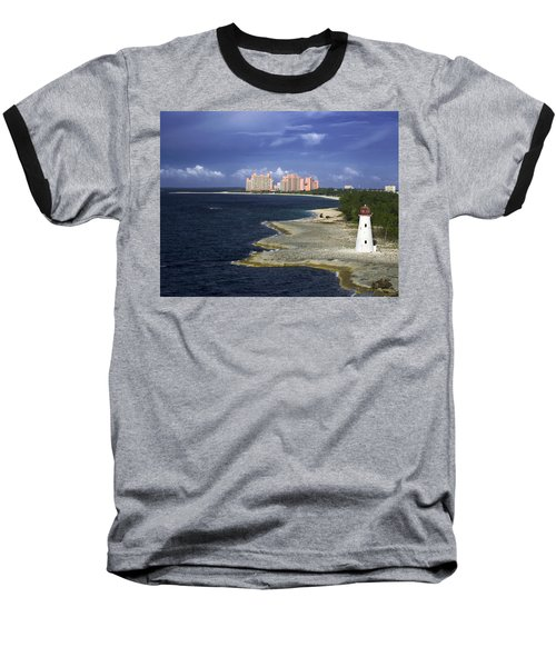 Lighthouse On Colonial Beach With Atlantis Paradise Resort Bahamas Baseball T-Shirt