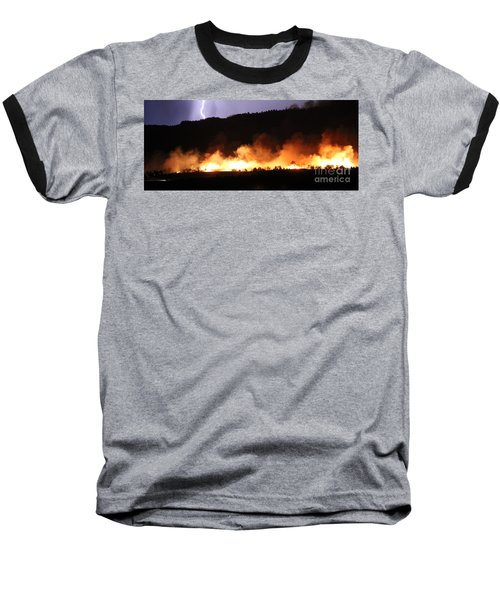 Lightning During Wildfire Baseball T-Shirt
