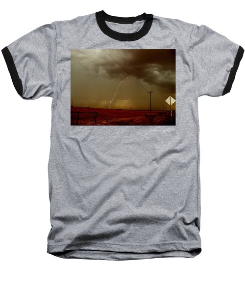 Baseball T-Shirt featuring the photograph Lightning Strike In Oil Country by Ed Sweeney