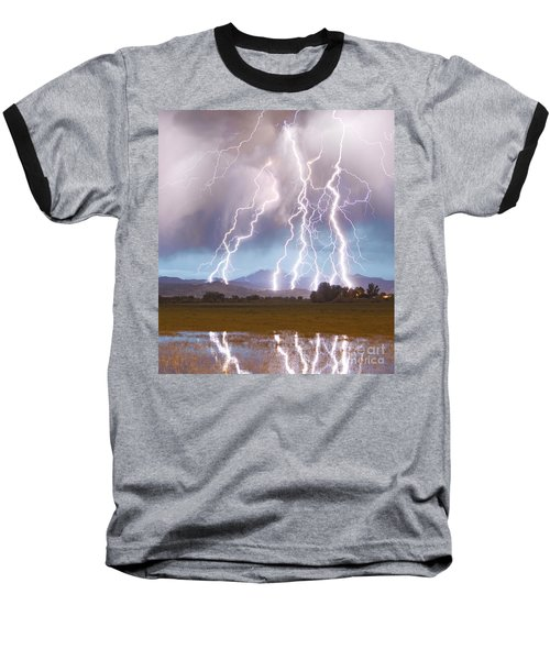 Lightning Striking Longs Peak Foothills 4c Baseball T-Shirt