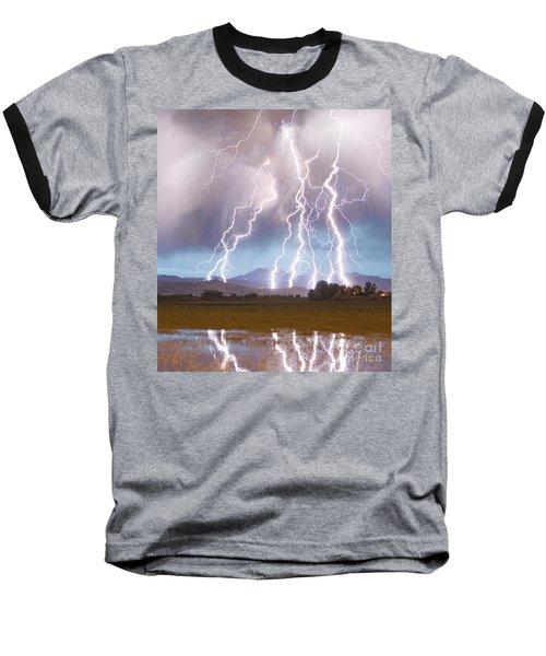 Lightning Striking Longs Peak Foothills 4c Baseball T-Shirt