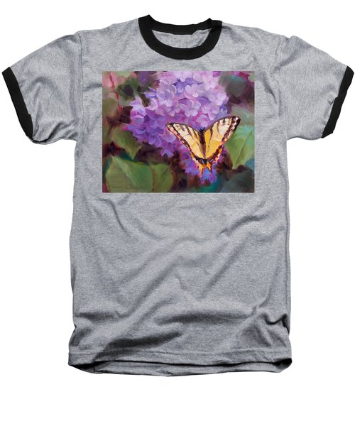 Lilacs And Swallowtail Butterfly Baseball T-Shirt by Karen Whitworth