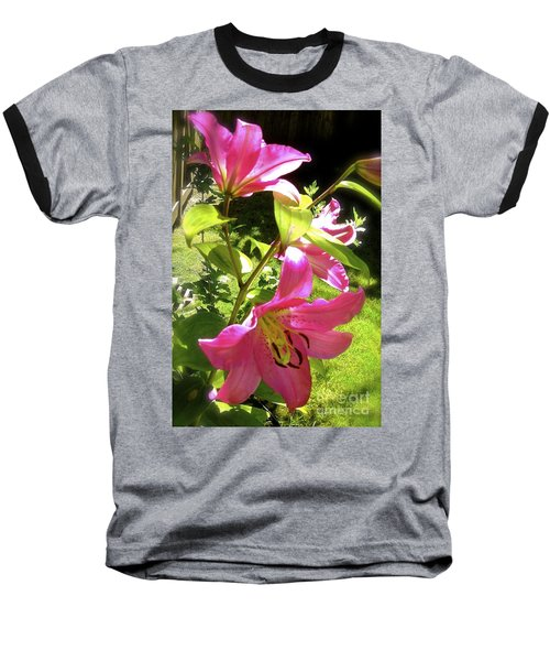 Baseball T-Shirt featuring the photograph Lilies In The Garden by Sher Nasser