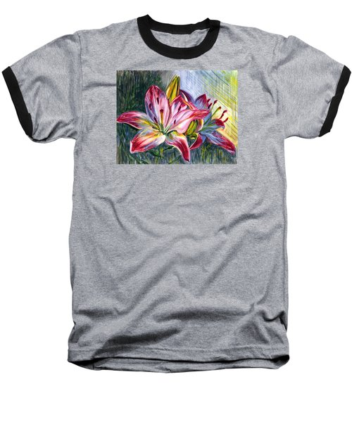 Baseball T-Shirt featuring the painting Lilies Twin by Harsh Malik