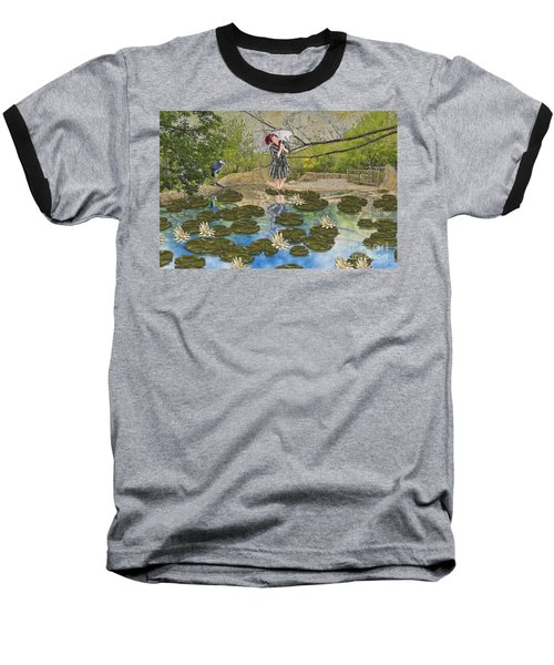 Baseball T-Shirt featuring the digital art Lilly Pad Lane by Liane Wright