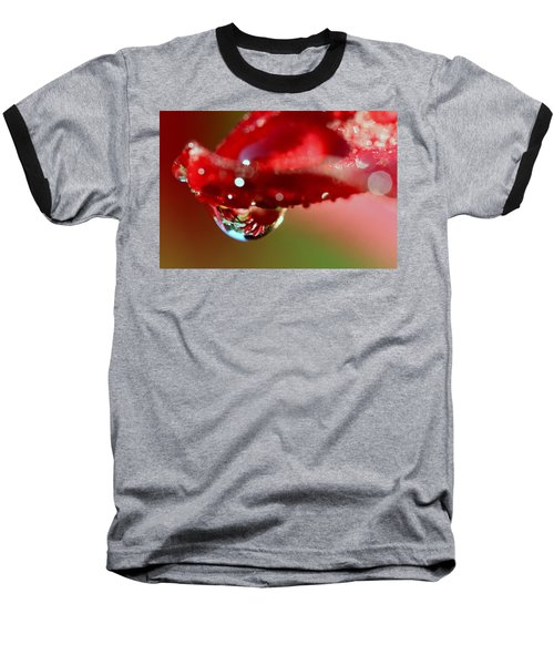 Baseball T-Shirt featuring the photograph Lily Droplets by Suzanne Stout