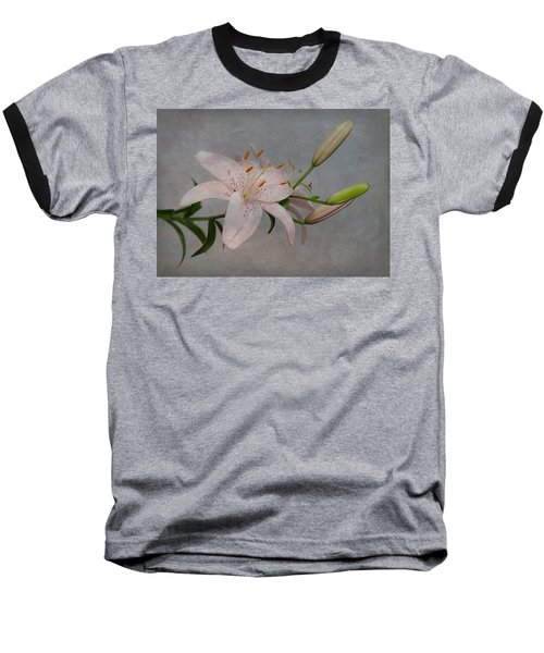 Pink Lily With Texture Baseball T-Shirt