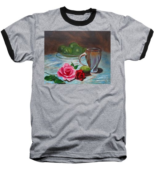 Baseball T-Shirt featuring the painting Limes And Roses by Jenny Lee