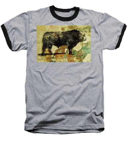 Baseball T-Shirt featuring the drawing French Limousine Bull 11 by Larry Campbell