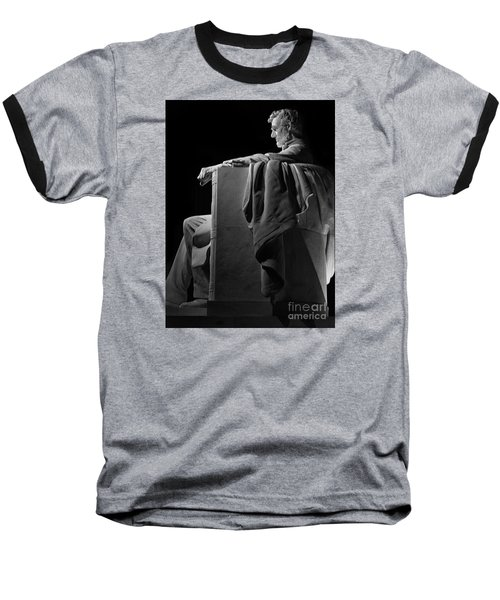 Lincoln In Black And White Baseball T-Shirt