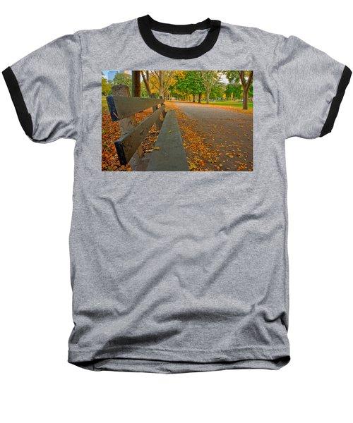 Lincoln Park Bench In Fall Baseball T-Shirt
