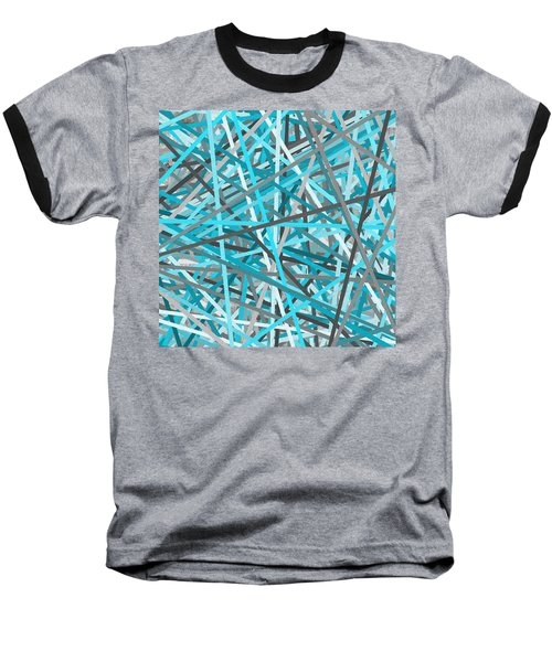 Link - Turquoise And Gray Abstract Baseball T-Shirt