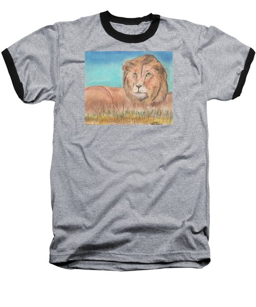 Baseball T-Shirt featuring the pastel Lion by David Jackson