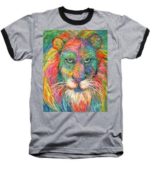 Lion Explosion Baseball T-Shirt by Kendall Kessler