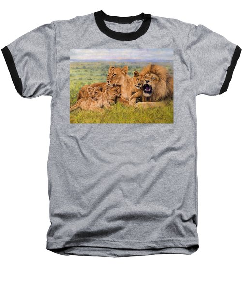 Lion Family Baseball T-Shirt by David Stribbling