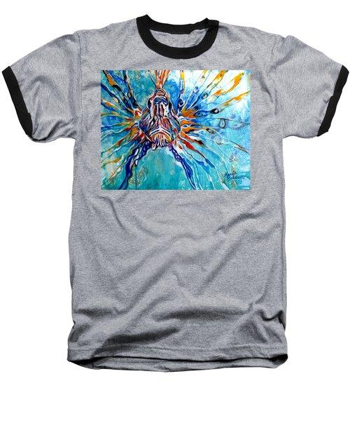 Lion Fish Blue Baseball T-Shirt