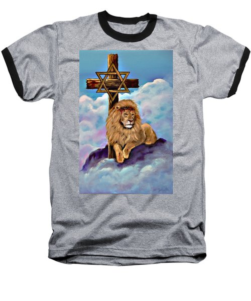 Baseball T-Shirt featuring the painting Lion Of Judah At The Cross by Bob and Nadine Johnston