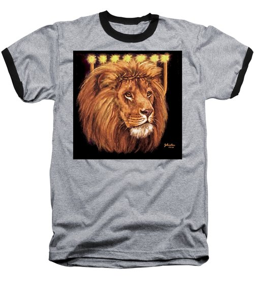 Lion Of Judah - Menorah Baseball T-Shirt